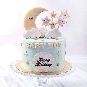 Image 3 - 1 Juego de pastel de fiesta de cumpleaños con tema de nubes y Luna y estrellas, decoración de feliz cumpleaños para tarta