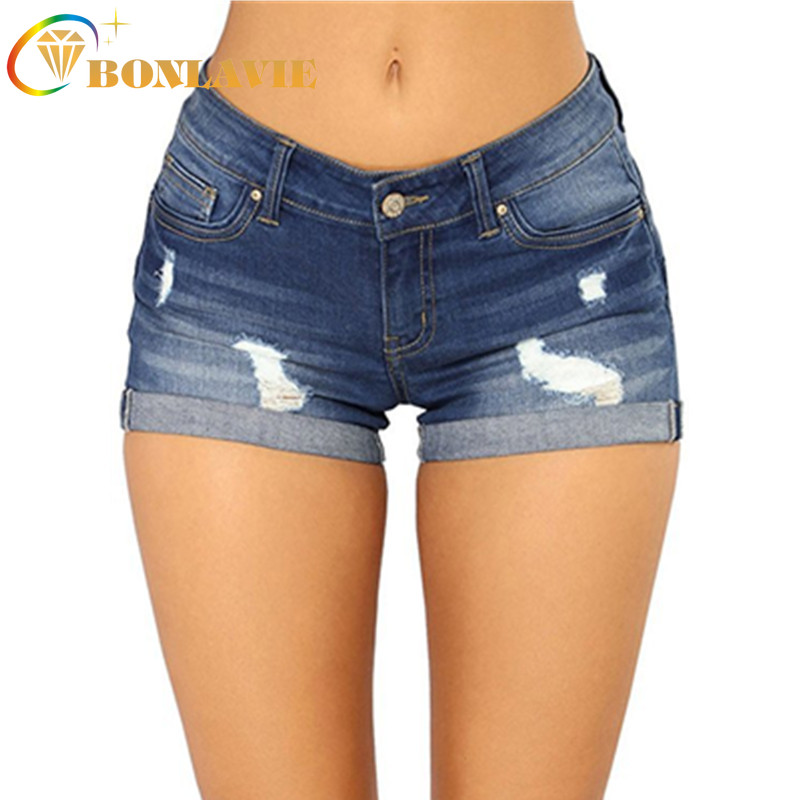 Summer Fashion Women's Shorts Cotton Denim Short Pants Tight Low Waist Jeans Hole Ripped Denim Casual Skinny Stretch Jeans