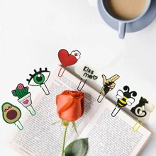 1-4pcs Cute Animals Dog Cat Bookmarks Avocado Heart Paper Clips for School Teacher Page