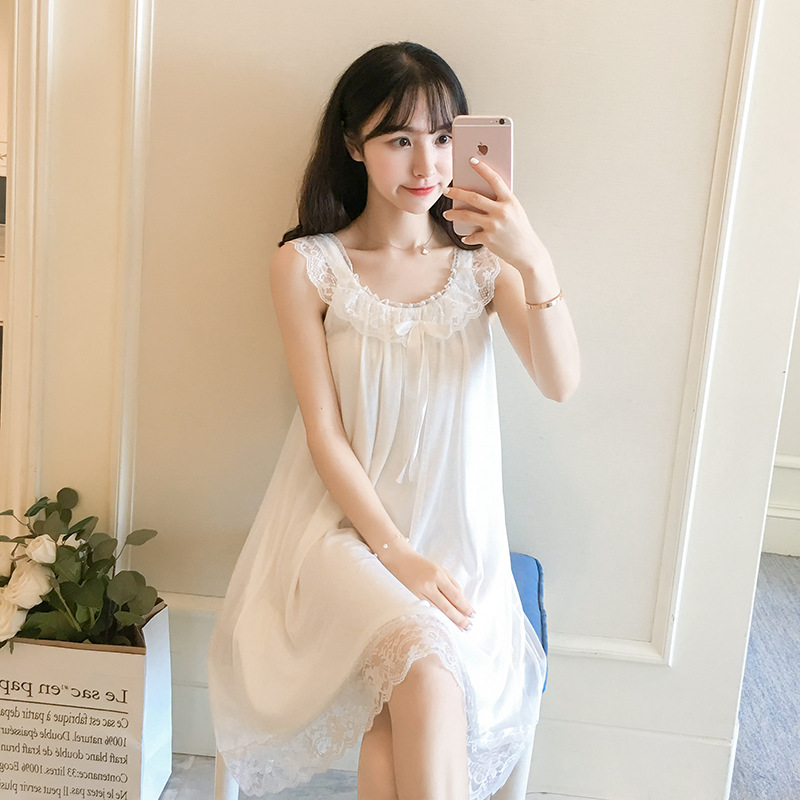 Summer New Style Gauze Lace Nightgown Women's Pure Cotton Palace Sleeveless Fairy Style Lace Bow Strapped Dress