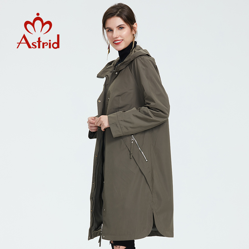 2019 Trench Coat Spring And Autumn Women Causal coat Long Sleeve With Hood Solid color female