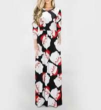 Женское длинное платье макси с длинным рукавом и принтом рождественской
