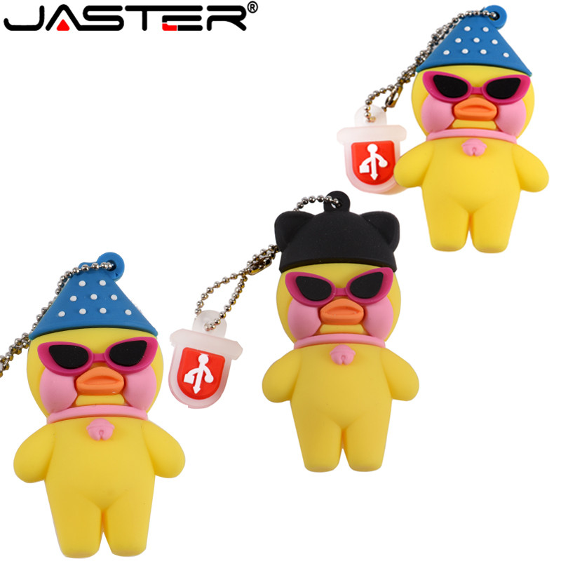 JASTER Cartoon Yellow Hyaluronic Acid Duck USB Flash Drive Cafe Mimi 8GB 16GB 32GB 4GB 64GB USB 2.0  Memory Stick Gift U Diuk