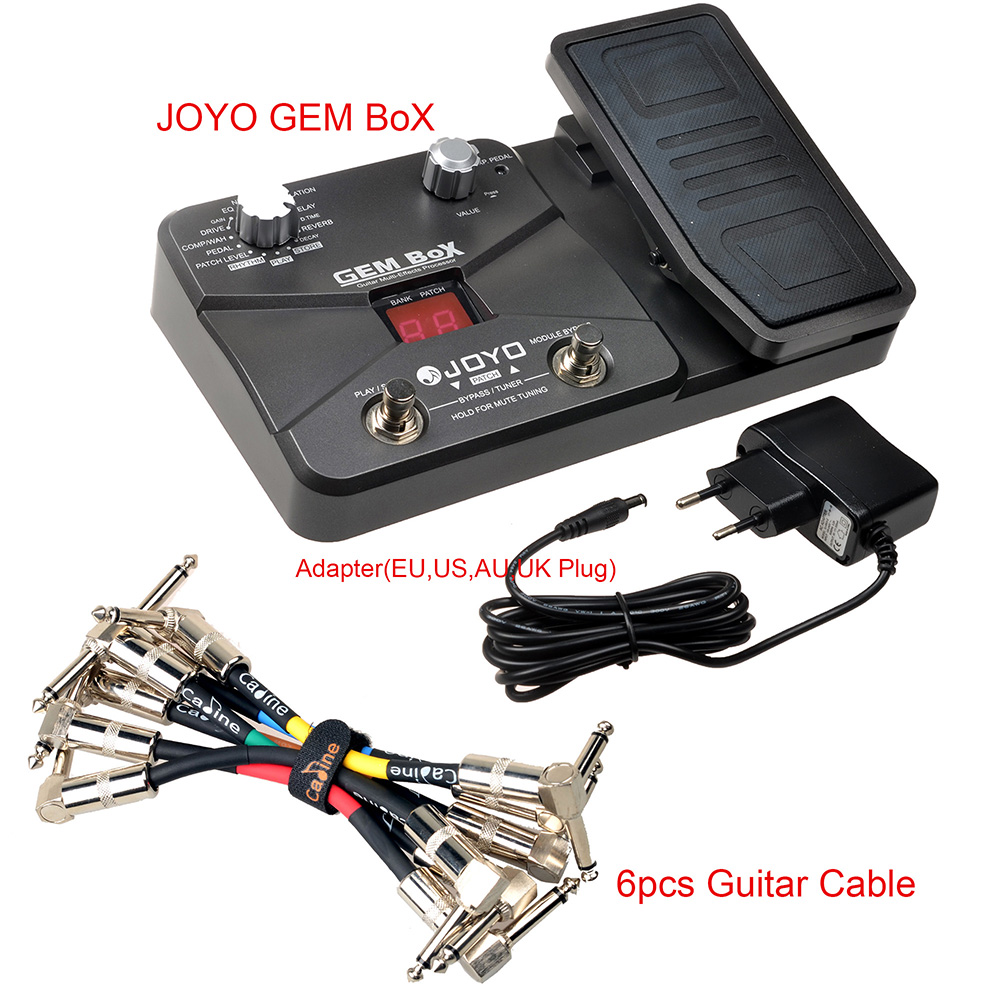 JOYO GEM BOX Pedal Guitar Multi-Effects Processor Powere 9V DC Adapter Assignable Expression 25 Drive Sounds With Guitar Cable