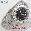 40 мм BLIGER черный цвет циферблат керамический ободок размещение светящиеся сапфировое стекло Дата автоматические мужские часы