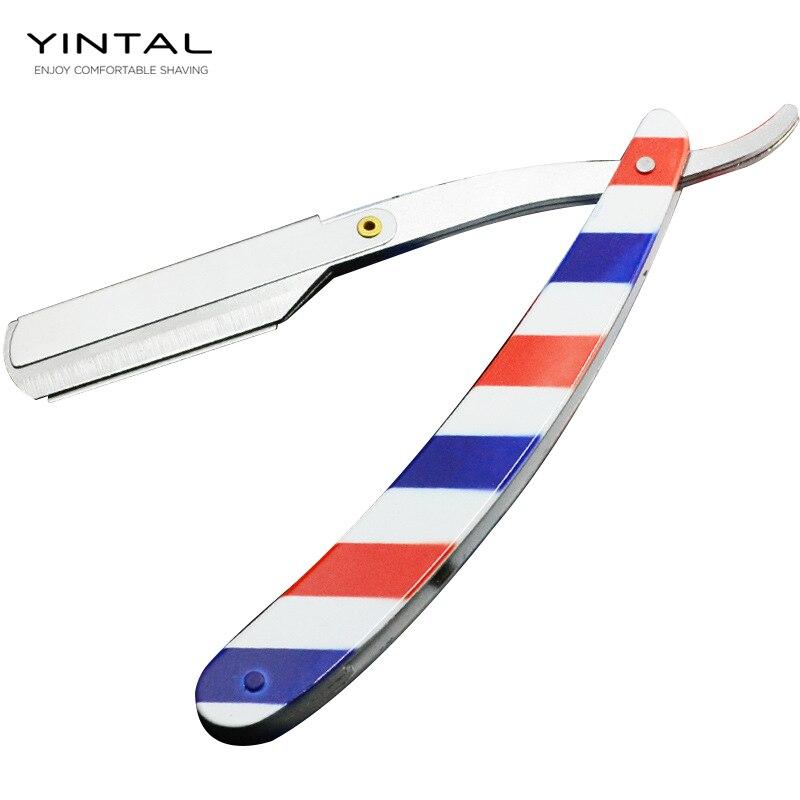Men Shaving Barber Tools Hair Razor And Blades Antique Fashion Color Folding Shaving Knife Stainless Steel Straight Razor Holder