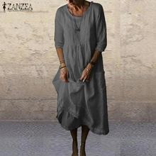 Summer Cotton Linen Dress ZANZEA Women 3/4 Sleeve Solid Autumn Sundress Elegant O neck Loose Work Vestido Robe Femme Dresses 5XL