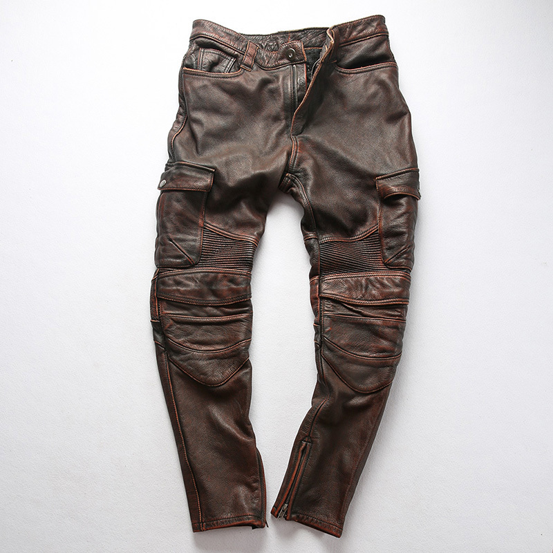 Factory 2020 New Men Vintage Gray Tooling Multi-pocket Cow Leather Motorcycle Leather Pants Fashion Pleated Rider Biker Pants