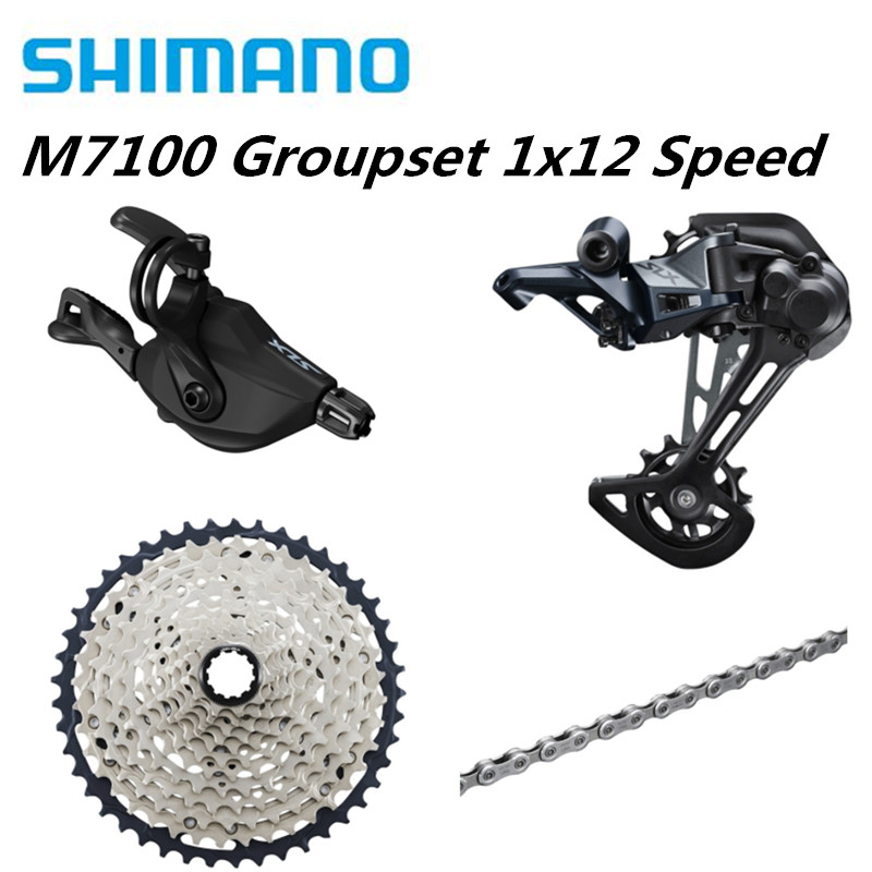 SHIMANO SLX M7100 4PCS 1x12 12Speed 10 51T Groupset SL+RD+CS+HG M7100 Shifter Rear Derailleur Cassette Chain-in Bicycle Derailleur from Sports & Entertainment