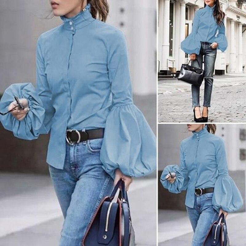 Осенние рубашки с длинными рукавами для женщин Винтаж Водолазка блузка прочный фонарь рукав рубашка Топы Уличная Повседневная Женская