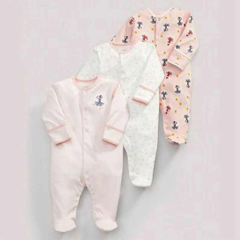 Spring And Autumn Cute Pink Cotton Long-sleeved Baby Onesies Robes Romper 3 Sets 50cm(white & Pink)
