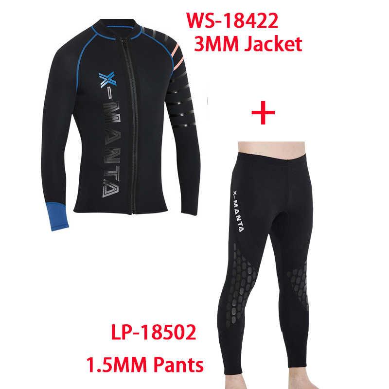 Dalış ve Yelken erkek 3mm dalış giysisi ceketler dalış pantolon uzun kollu dalgıç kıyafeti Tüplü Atlama Sörf Dalış Wetsuits