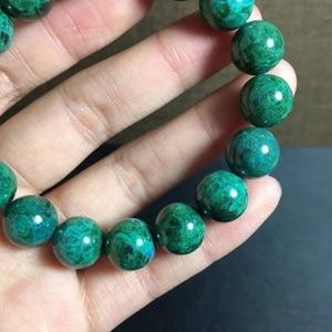 Image 5 - 12.2mm טבעי ירוק מלכיט צמיד נשים גברים מתנה ריפוי למתוח Chrysocolla עגול חרוז קריסטל צמיד תכשיטי AAAAA