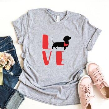 Love Dogs Graphic T Shirts Women Cotton Dachshund Print Short Sleeve T-shirt Kawaii Clothes Animal Lover Tops Tee Drop Shipping