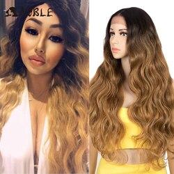 Noble synthétique dentelle avant perruque longue perruque ondulée dentelle avant perruque 30 pouces 360 perruque Blonde Cosplay 13x6 dentelle avant perruques pour les femmes