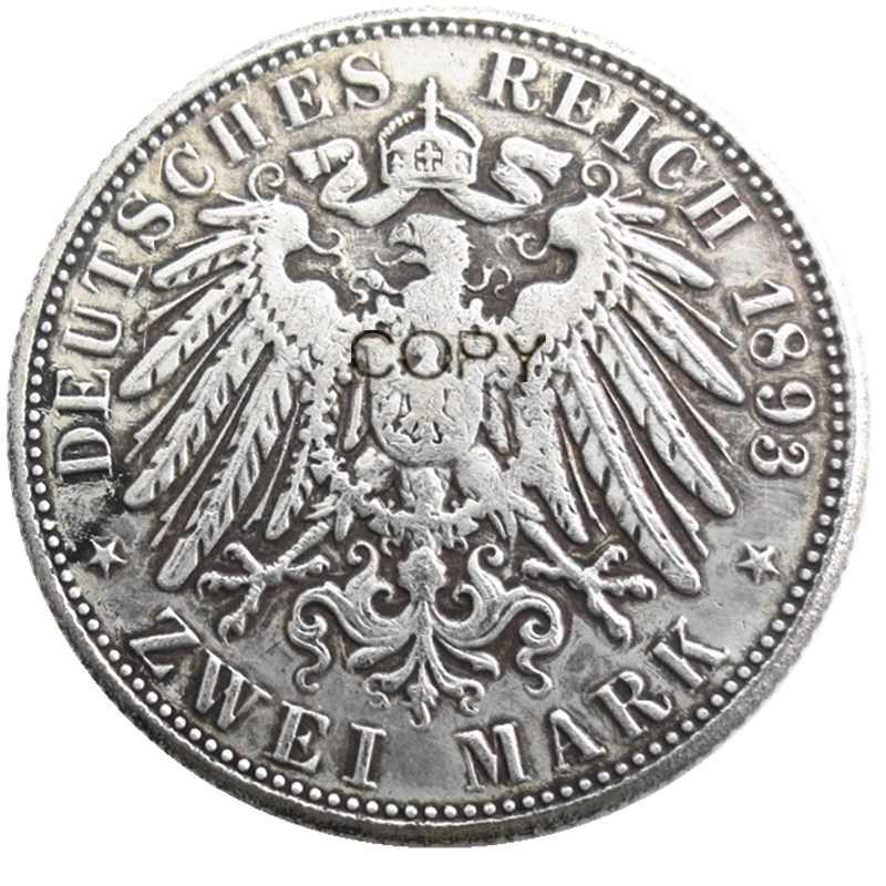 גרמניה בוואריה 2 סימן 1893 כסף מצופה עותק מטבעות