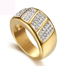 Argil finger ring fashion jewelry gold color titanium steel casting crystal rings for women free shipping