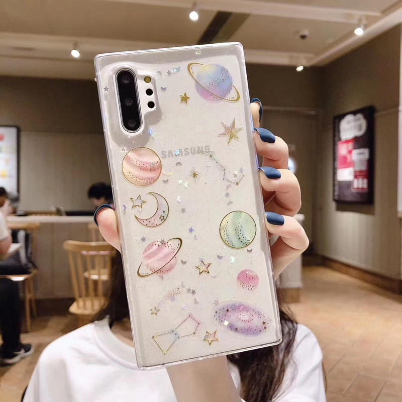 Bling Glitter Space Star Clear Soft Silicone Case Cover For Huawei P20 P30 P40 Nova 3 3I 4 5 Honor 8 8X 9 10 10I 20 20S Lite Pro