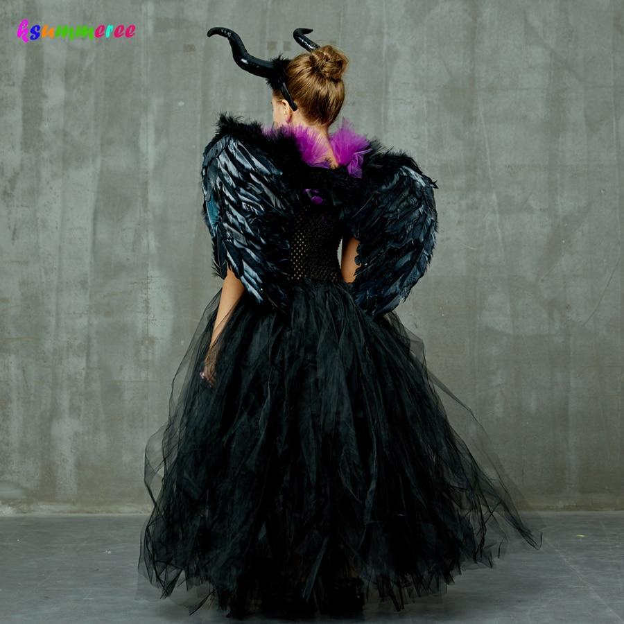 Kids Maleficent Evil Queen Girls Halloween Fancy Tutu Dress Costume Children Christening Dress Up Black Gown Villain Clothes 3