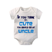 Culbutomind If You Think I am Cute Should See My Uncle Summer Infant Baby Jumpsuit Girls Newborn Toddlers Clothes T-S