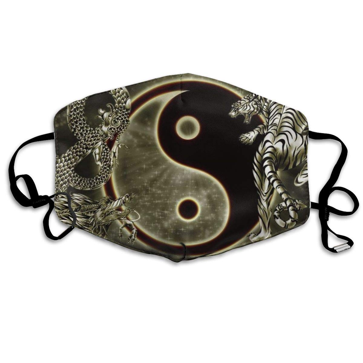 Women Men Breathable Anti-Dust Face Mouth Cover Mask Respirator, Protection Anti Pollution Warm Windproof Mask, Yin Yang Dragon
