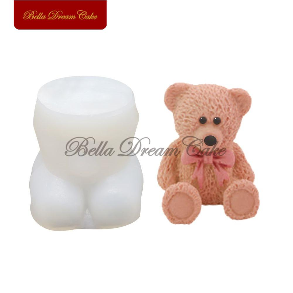 3D Toy Bowknot Bear Silicone Mold Fondant Cake Border Moulds Chocolate Mould Cake Decorating Tools Kitchen Baking Accessories