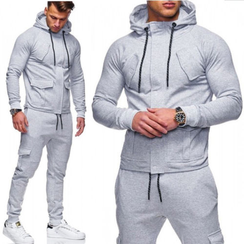 Goocheer 2Pcs/Set Tracksuit Men New Autumn Hooded Sweatshirt Drawstring Pants Male Stripe Patchwork Hoodies Bigsweety