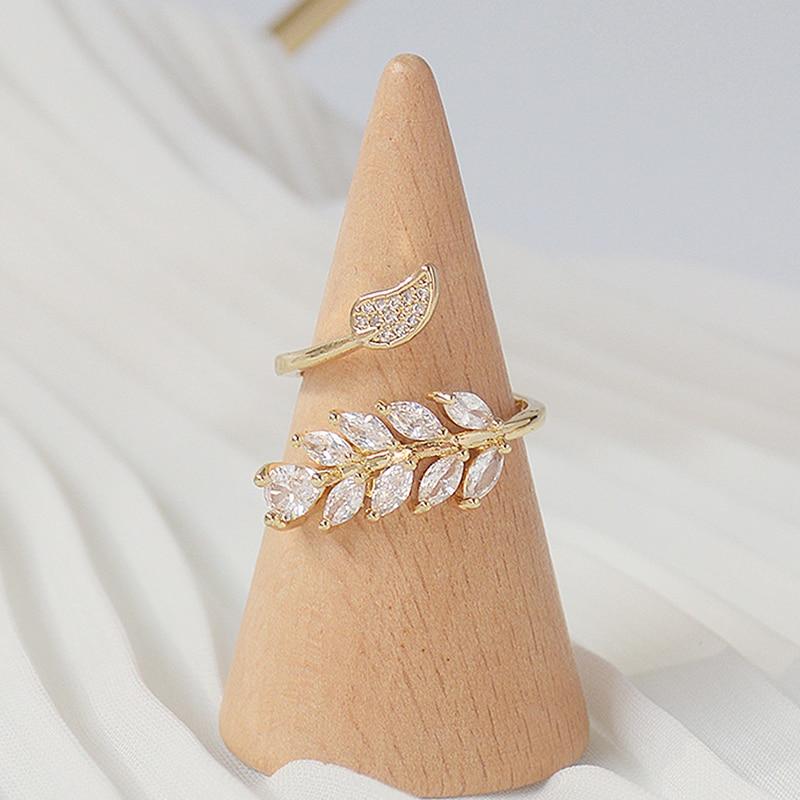 Mode coréenne 14K véritable or complet CZ laisser anneau pour les femmes réglable design ouvert AAA Zircon délicat quotidien bijoux pendentif 2