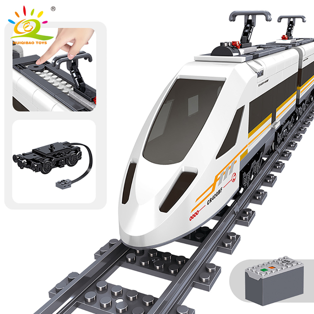 HUIQIBAO 641pcs Technic Battery Power Electric City Train high speed Rail Building Blocks Railway track set Bricks Children Toys