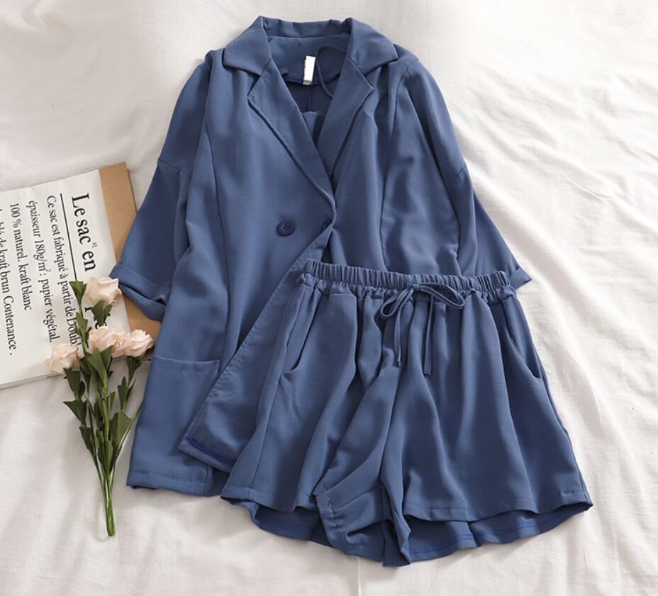Chic Vest +Jacket +simple Pure Color Elastic Waist Shorts Three-piece Suit  3 Piece Outfits For Women Summer Clothes