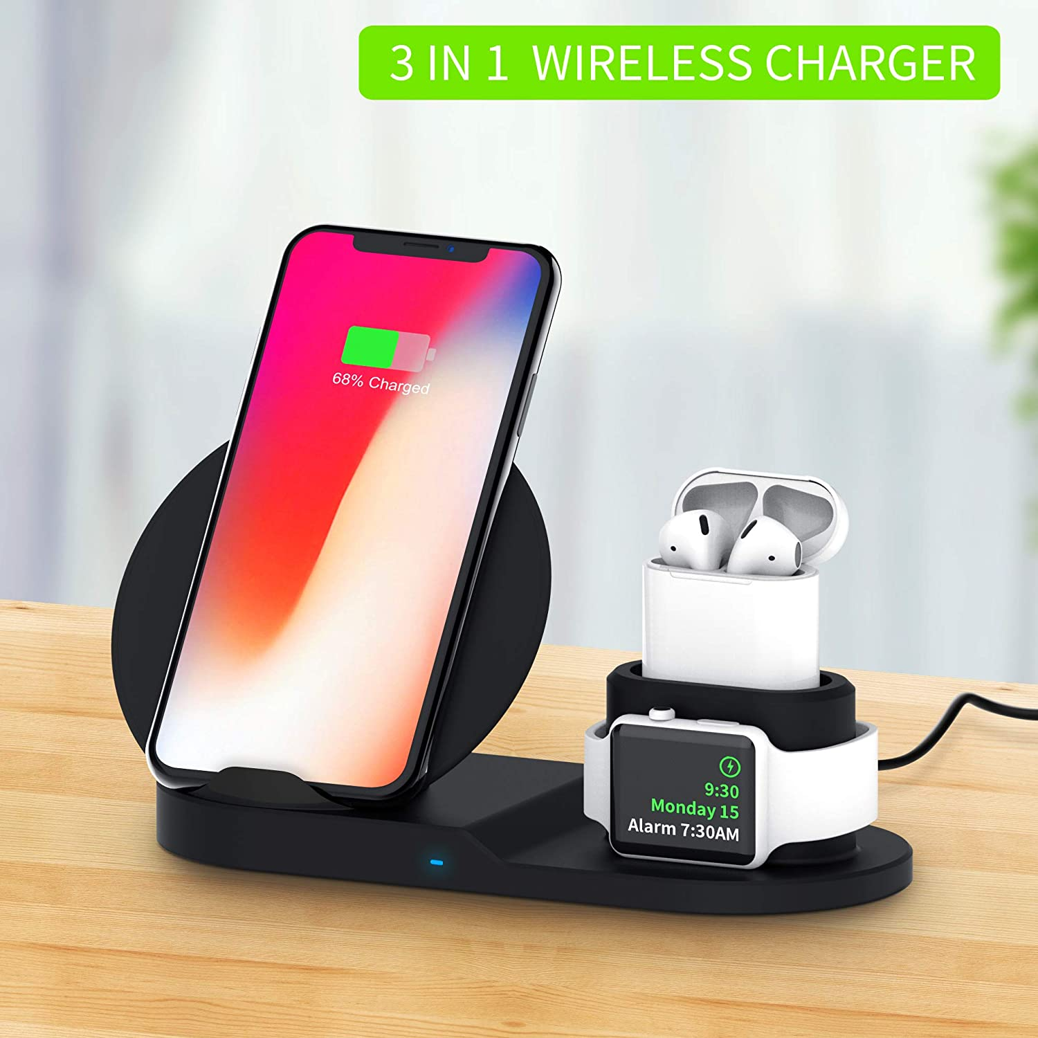 Apple Watch Wireless Charger 3 in 1 Qi Wireless Charger Stand for iPhone AirPods Pro Charge Dock Station For Apple Wireless Qui