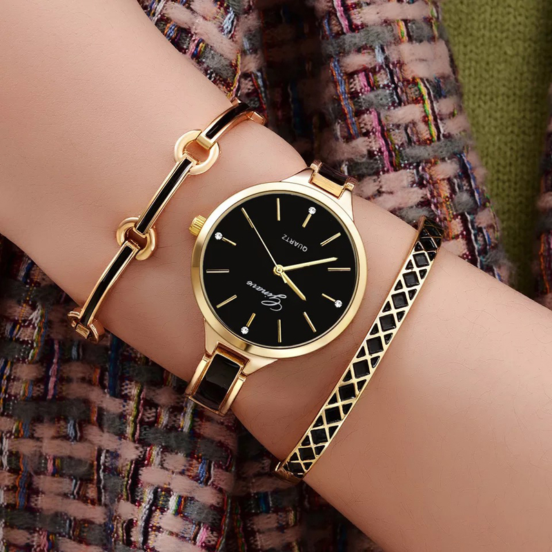 3 PCS Set Ginave Watch Women Rose Gold Bracelet Watch  Luxury Jewelry Ladies Famale Girl Hour Casual Quartz Wristwaches