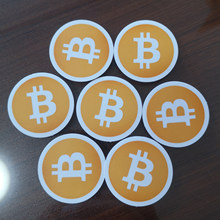 Material branco autoadesivo do pvc da etiqueta do logotipo do bitcoin do diâmetro de 20 pces 3.5cm, artigo não fs28
