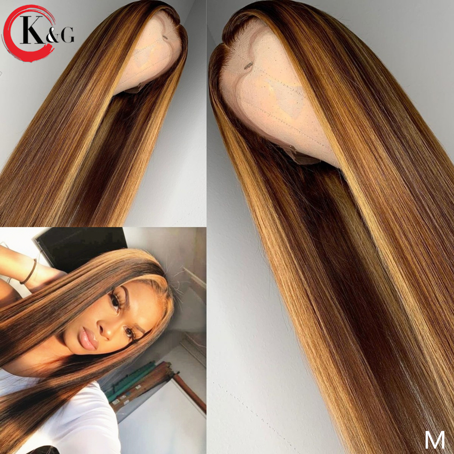 """KungGang destacar frente de encaje de cabello humano Wigs13 * 4 13*6 malla con división pelucas con bebé Hair8 """"-24"""
