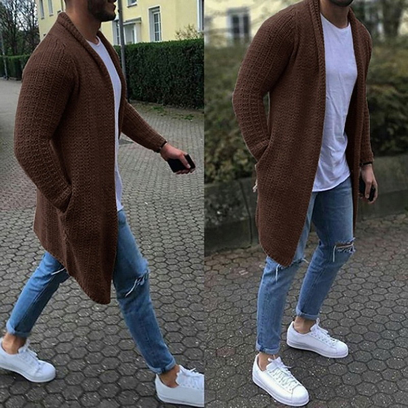 Cardigans Sweater Overcoat Spring Slim-Fit Streetwear Knitted Long-Sleeve Thin Male Men title=