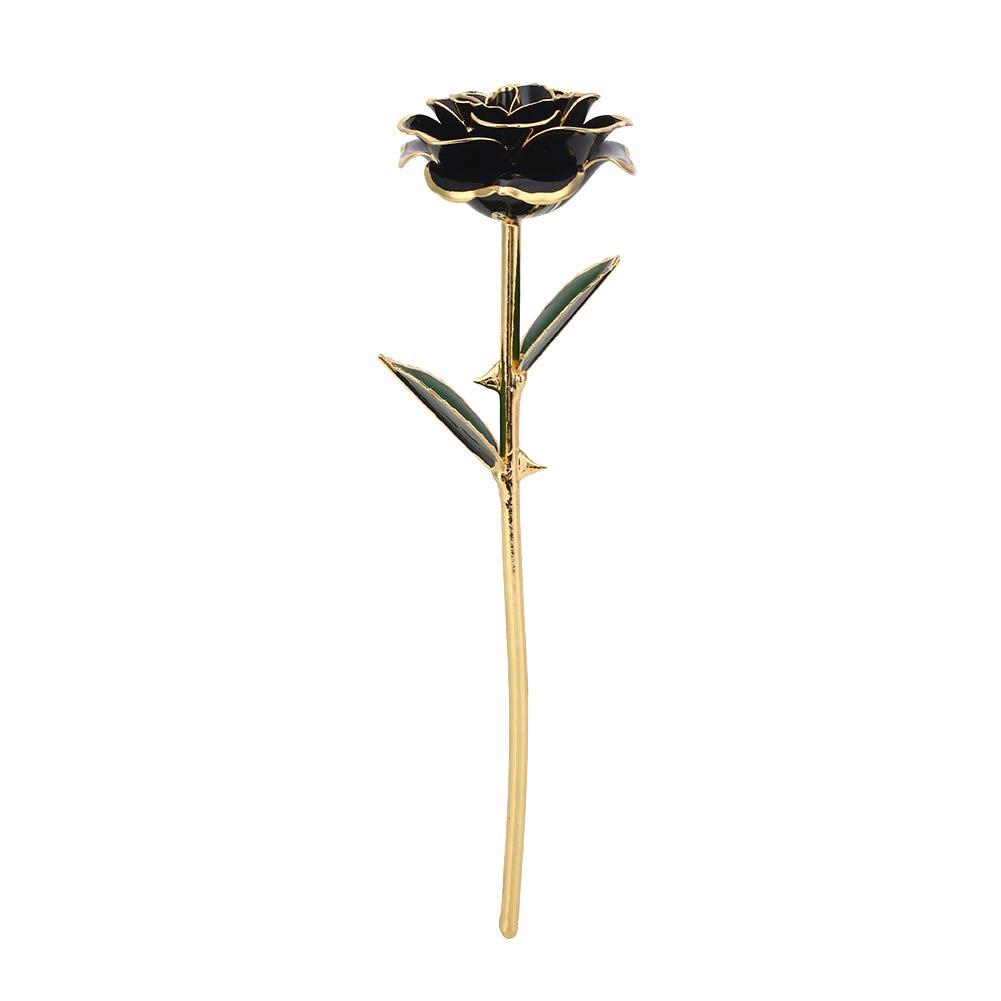 Искусственное растение розы подарок Цветочный декор эмуляционный цветок 10 цветов Золотая фольга реквизит фестиваль ресторан отель орнамент - Цвет: Black