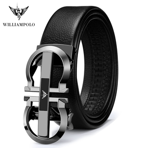 Image 3 - WilliamPolo Genuine Leather Belt Men Cowskin Strap Luxury Belts For Male Alloy Automatic Buckle Fashion Belt Casual Gold PL18335