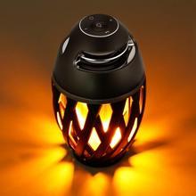 Alto falante bluetooth led luz de chama alto falante sem fio portátil jogador ao ar livre com tocha de chama led luz cintilante