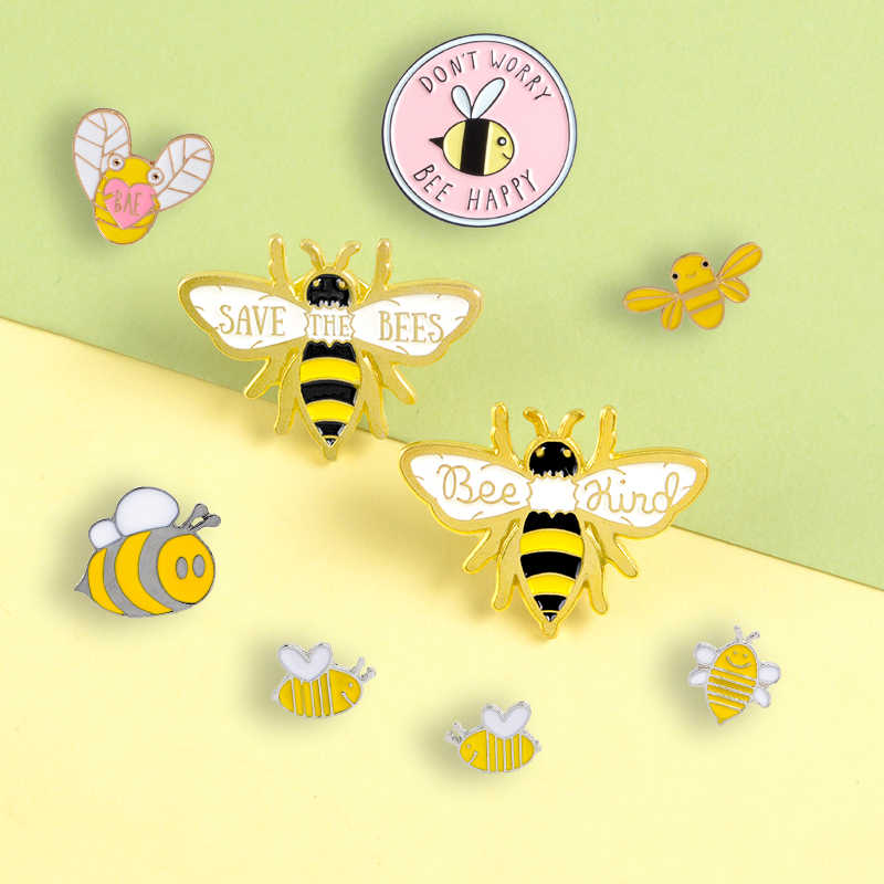 "Insect Bee Series Enamel Pins Cartoon Cute Animal ""BEE HAPPY"" Brooches Badges Bag Clothes Lapel Pins Jewelry Gifts For Friends"