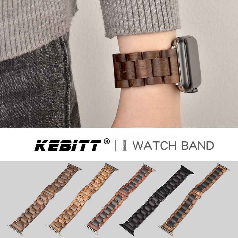 High Quality Wooden Watchband For Apple Watch Natural Bamboo Black Brown Strap For Iwatch Series 5 4 3 2 1 40/44/42/38mm Bands