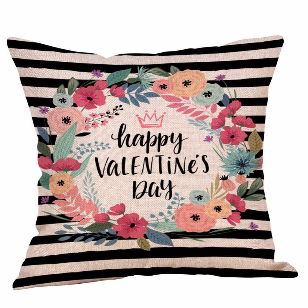 Hari Valentine Katun Melempar Bantal Case Sofa Pinggang Bantal Cover Bantal Dekoratif Bantal Cover Valentine Housse De Coussin