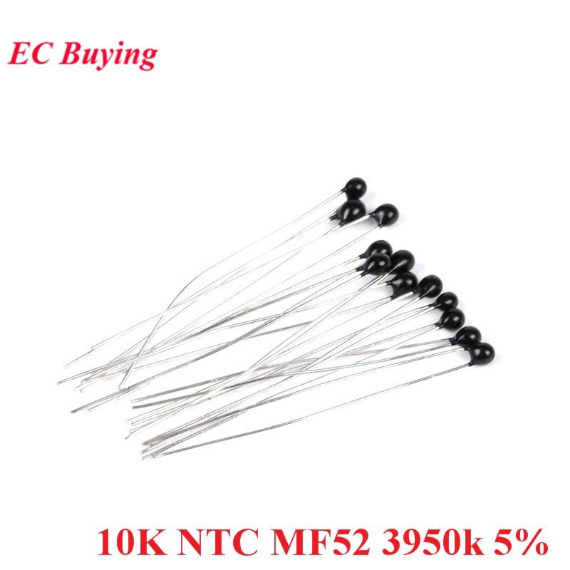20pcs NTC Thermistor Thermal Resistor MF52 NTC-MF52AT 10K Ohm R B Value 3950k 5% Thermal Resistor Temperature Sensor