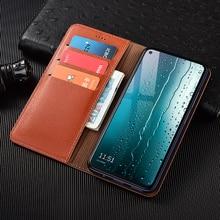 Litchi Texture Genuine Leather Wallet Magnetic Flip Cover For OPPO Realme X XT X2 X3 K5 1 2 3 3i 5 5i 6 C1 C1 C2 C3 C11 Q Case