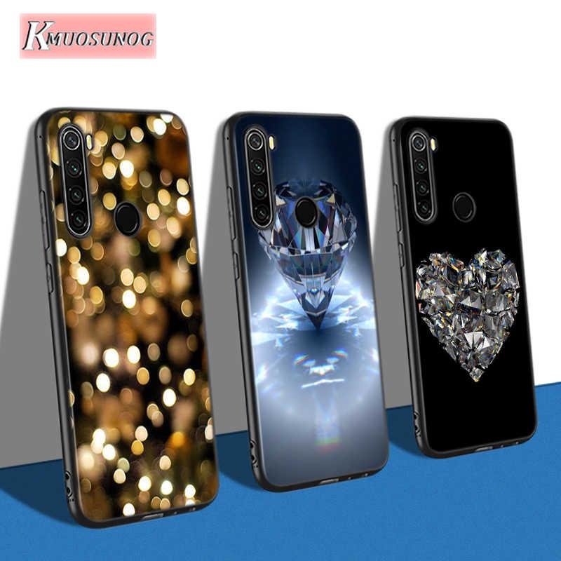 Silicone preto capa de cristal diamante para xiaomi redmi nota 9 9 s pro max 8 t 7 6 5 pro 5a 4x 4 caso do telefone saco