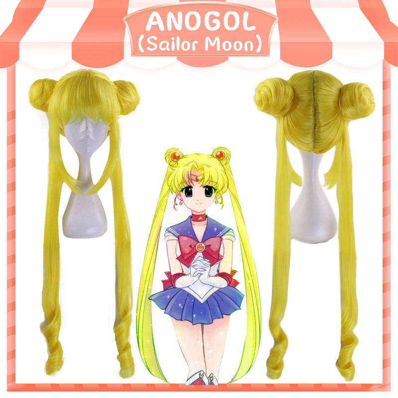 Anogol Anime Sailor Moon Long Straight Double Braids Lemon Yellow Blonde Synthetic Cosplay Wig For Halloween Party Costume