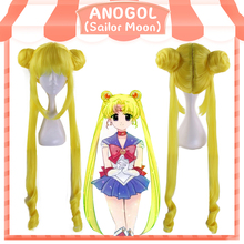 Anogol Anime Sailor Moon Long Straight Double Braids Lemon Yellow Blonde Synthetic Cosplay Wig For Halloween Party Costume цена 2017