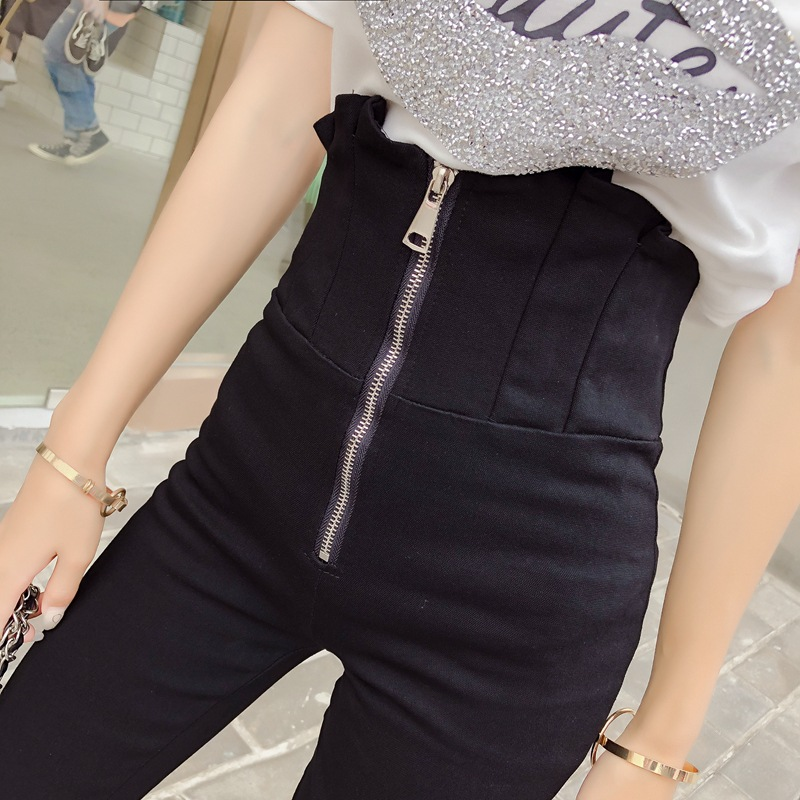 Bud High-waisted Belly Holding Jeans WOMEN'S Ninth Pants 2019 Spring New Style Korean-style Versatile Slim Fit Zipper Slimming F
