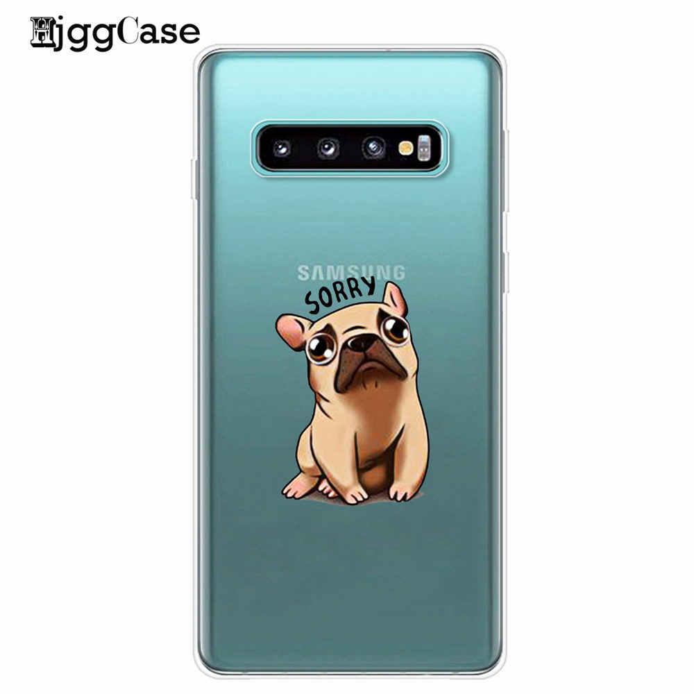 Cão dos desenhos animados adorável buldogue francês macio caso de telefone capa para samsung galaxy s7 edge s8 s9 s10 plus 5g lite s10e m10 m20 m30 capa
