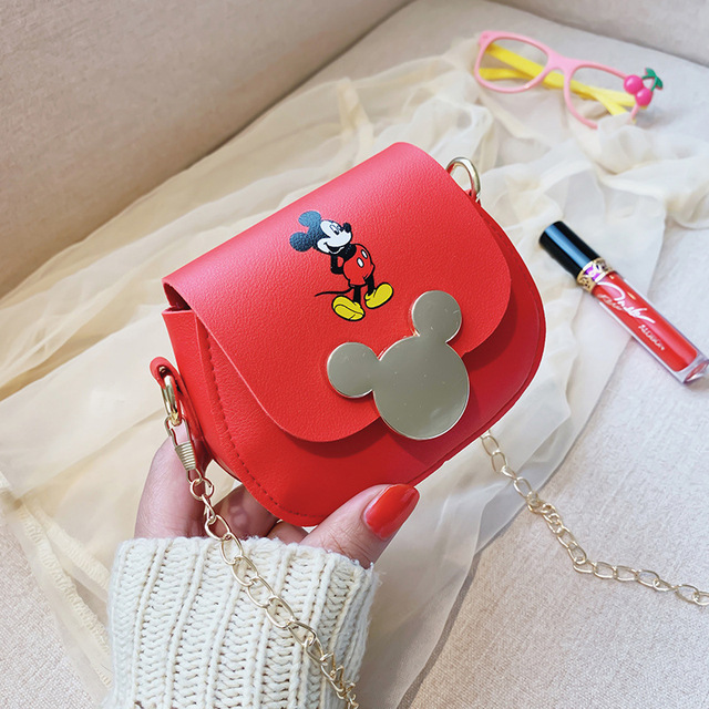 2020 Mickey Handbag Kids Shoulder Crossbody Bag Waterproof Chain Bag  Pu Leather Cute Messenger Bag Fahion Children Little Tote