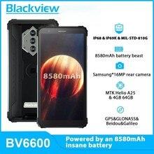 Blackview bv6600 smartphone áspero 5.7 polegada 8580mah 4gb + 64gb octa núcleo celular android 10 16mp câmera nfc celulares